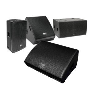 Portable PA systems, stage monitors, line arrays, sub-woofers, active and passive speakers for large and small scale applications from leading industry brands.