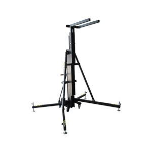 Telescopic and Tower lift stands for heavier loads like Line Array systems, Truss and small LED screens.